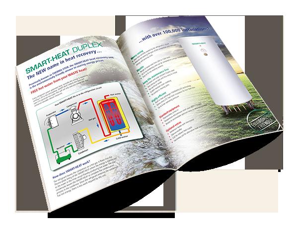 Grafikdesign Beispiel Produktbroschüre %22Smartheat%22 der Firma Fabdec Ltd.
